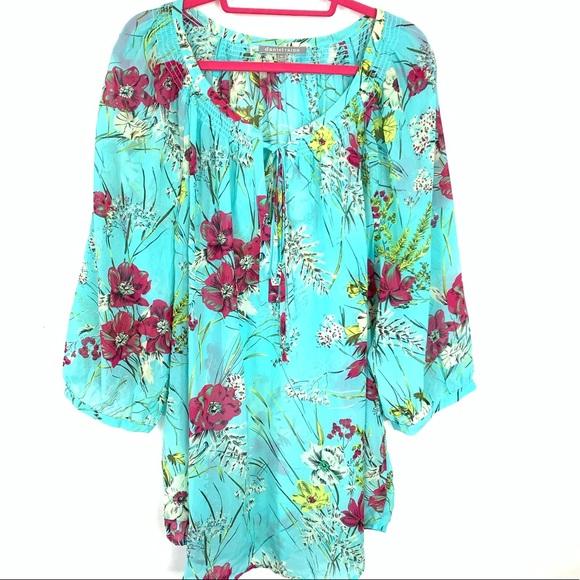 aa5fa558130475 Daniel Rainn Tops - Daniel Rainn women's blue floral blouse 3X